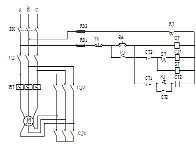 试划出电动机y-△启动控制回路图.